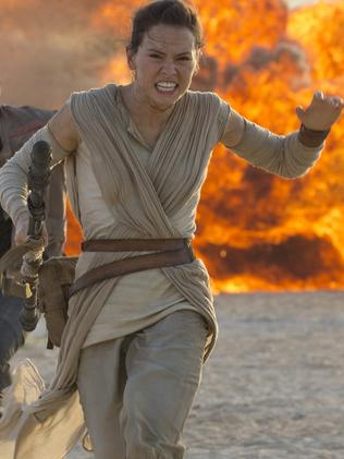 Daisy Ridley as Rey in The Force Awakens.