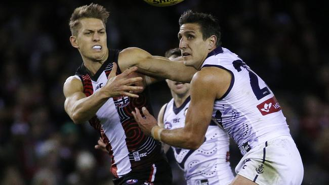Sean Dempster and Matthew Pavlich. Picture: Colleen Petch