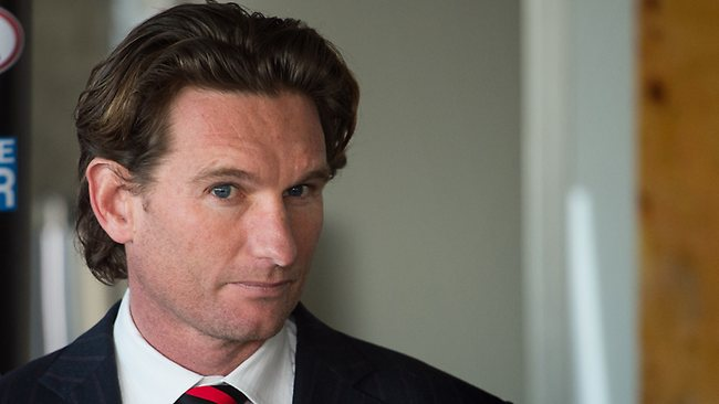 Essendon coach James Hird readies himself before unleashing a spray on the AFL's handling of the supplements saga. Picture: Stuart Walmsley