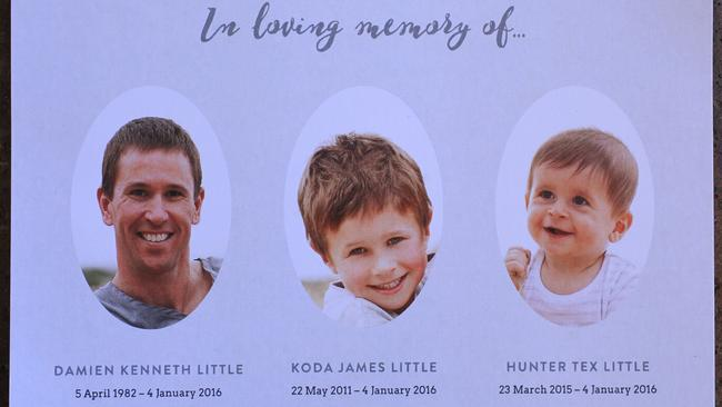 Funeral card from the service for Koda, Hunter and Damien Little. Picture: Dean Martin