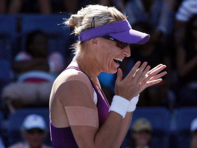 Mirjana Lucic-Baroni of Croatia celebrates after defeating Simona Halep at the US Open.