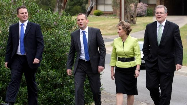 Federal opposition Leader Tony Abbott (2nd L) with Mayo MP Jamie Briggs (L), South Australian Opposition Leader Isobel Redmond and Shadow Immigration Minister Scott Morrison at Inverbrackie, the site for a new detention centre in the Adelaide Hills in South Australia.