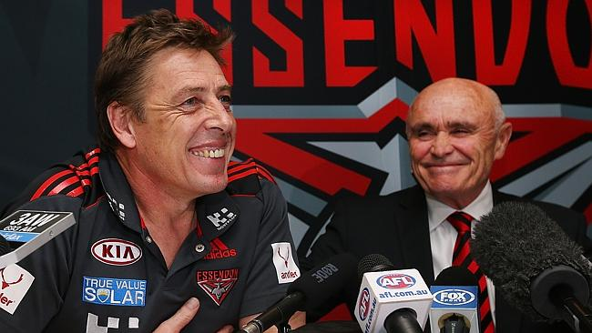 Mark Thompson at the press conference with Essendon chairman Paul Little after being announced as the club's coach for 2014. Picture: Michael Dodge.
