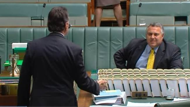 Mr Hockey sitting in the Parliamentary chamber at 3:40pm. Mr Abbott was no where near him for 24 minutes.