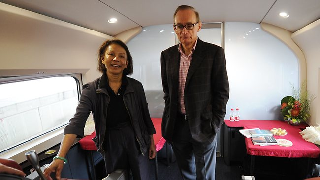 Foreign Minister Bob Carr and wife Helena in their cabin on a high speed train to Beijing at Hongqiao railway station in Shanghai during a six-day visit in May. AFP PHOTO/Peter Parks