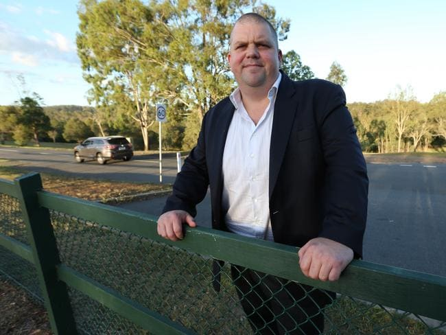 One-time electrician-turned-mining-magnate Nathan Tinkler outside his home in Pullenvalle, Brisbane, in February.