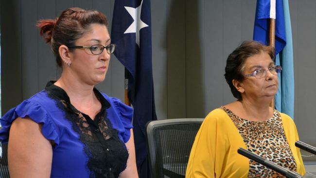 Mr Breton's partner Miranda (left) and Triscaru's mother Victoria speak to the media at Logan police headquarters on Tuesday. Picture: Ed Jackson