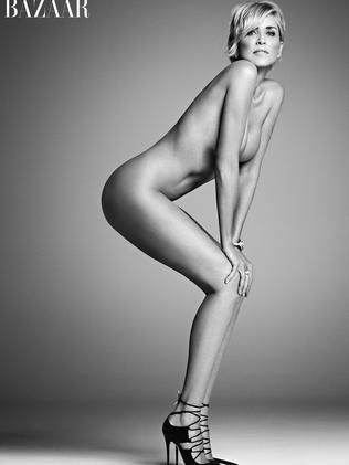 Sharon Stone, 57, stripped down for Harper's Bazaar. Photo Credit: Mark Abrahams.