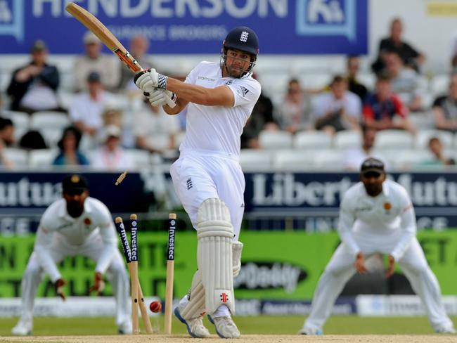 England's Alastair Cook is bowled by Sri Lanka's Dhammika Prasad for 16 runs in the second Test.