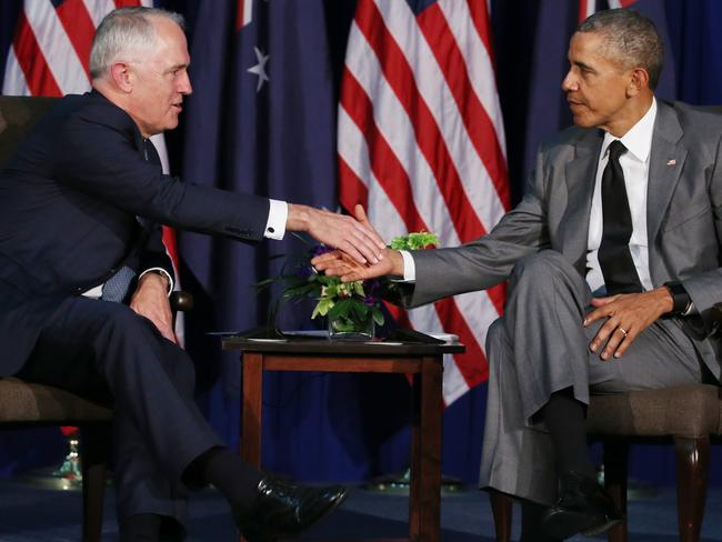 Good mates ... Malcolm Turnbull met with the US President Barack Obama at APEC in Manilla, Philippines, last November. Picture: Gary Ramage