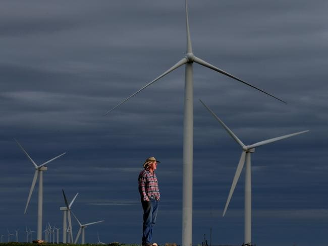 Wind turbines in Snowtown located in South Australia's mid north. Picture: Kelly Barnes/The Australian