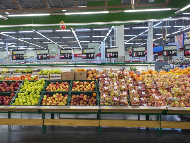 Shelves with imported fruit and vegetables at the Lenta market in Novosibirsk, about 2,800 kilometres east of Moscow, Russia. Picture: Ilnar Salakhiev