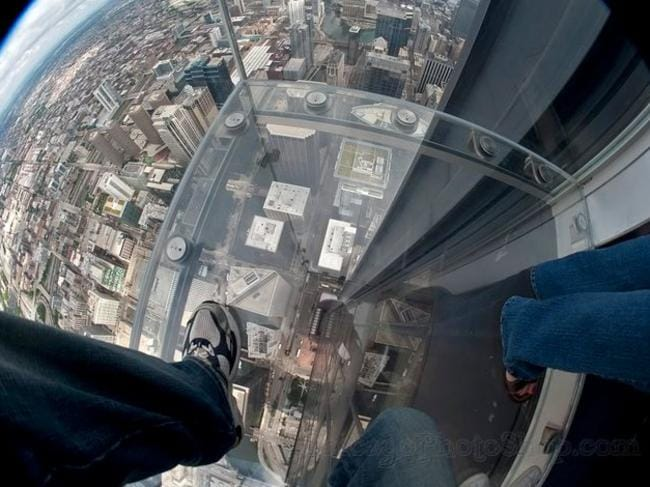 Don't look down ... the Ledge is 400 metres above ground. Picture: Facebook.