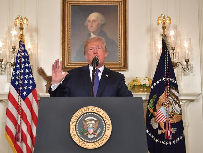 US President Donald Trump addresses the nation on the situation in Syria. Picture: AFP