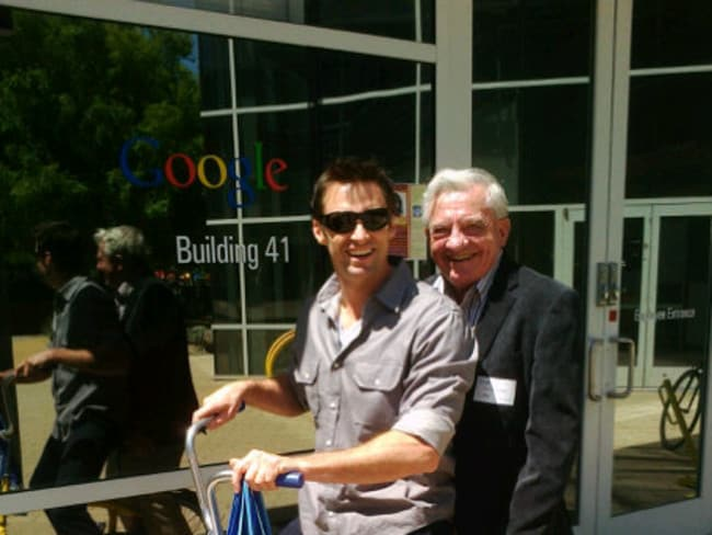 Still close ... Hugh Jackman with his father Chris at Google's campus in Mountain View, California.