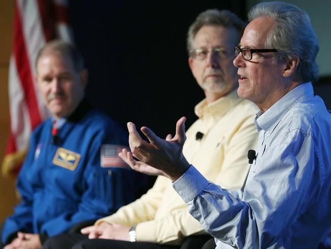 Martian experts ... (from left to right) NASA's John Grunsfeld, Jim Green and Michael Meyer during Monday's press conference. Picture: Win McNamee/Getty Images