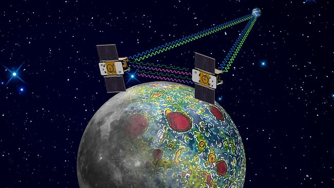 The twin Grail spacecraft mapping the lunar gravity field. After nearly a year circling the moon, NASA's Ebb and Flow spacecraft will meet their demise when they are scheduled to crash - on purpose - into a lunar mountain.