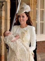 The British royals gathered to celebrated the christening of babb Prince George in central London. Catherine looked relaxed and wore a cream Alexander McQueen outfit and a matching hat by milliner Jane Taylor. Picture: Getty