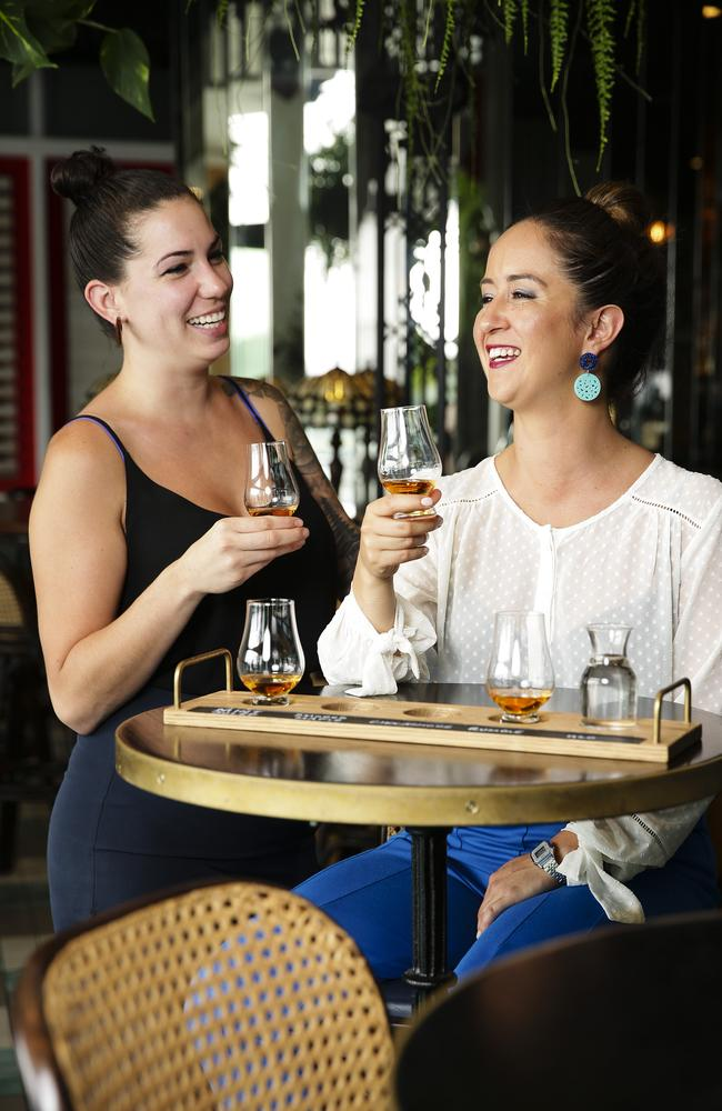 Raven Benoit and Alicia Hawkins at Nola, Barangaroo, enjoying a flavoured whisky flight. Picture: Justin Lloyd.