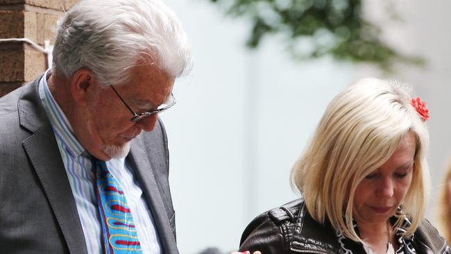 Convicted ... Rolf Harris leaves court with his daughter Bindi after being found guilty.