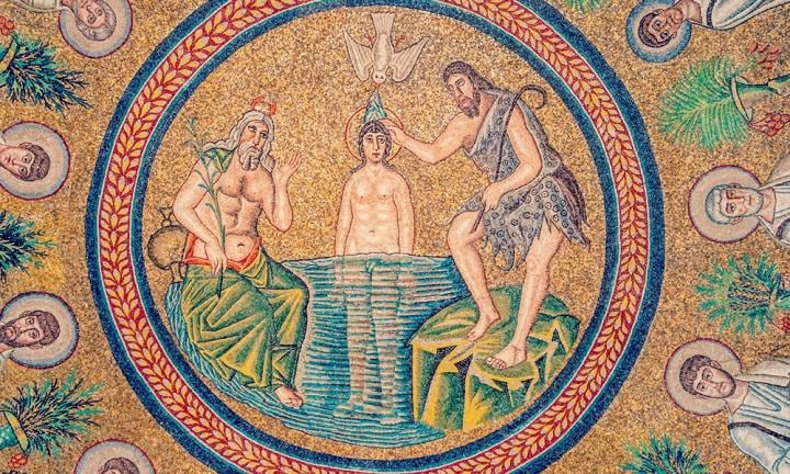 Ravenna church mosaic Italy.