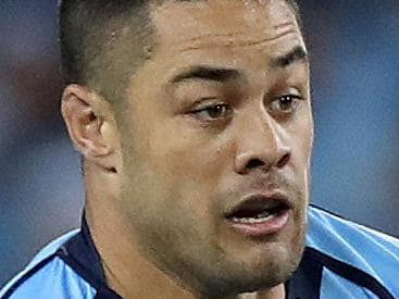 NSW's Jarryd Hayne makes some ground during Game 2 of the State of Origin series between the NSW Blues and QLD Maroons at ANZ Stadium, Sydney. Picture: Brett Costello
