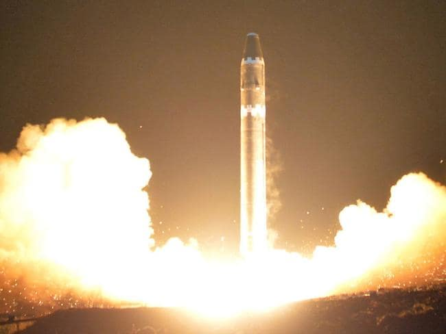 The Hwasong-15 intercontinental ballistic missile, at an undisclosed location in North Korea. Picture: AP