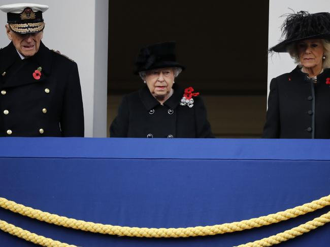 Queen Elizabeth, Prince Philip, Duke of Edinburgh and Camilla, Duchess of Cornwall during the Remembrance Sunday ceremony in London. Picture: AFP/Tolga Akmen