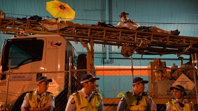 East West Link protesters remain on a drill in Gold Street, Clifton Hill.