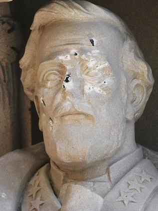 The defaced Gen. Robert E. Lee statue stands at the Duke Chapel in Durham, North Carolina. Picture: AP