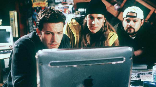Ben Affleck, seen here with Mewes and Smith in the film Jay and Silent Bob Strike Back ... Will he be too busy saving Gotham to make the Mallrats sequel? Picture: Supplied