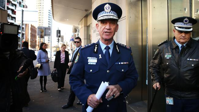 Former NSW Police Commissioner Andrew Scipione arrives to give evidence at the Sydney siege inquest. in August 2016. Picture: John Feder.