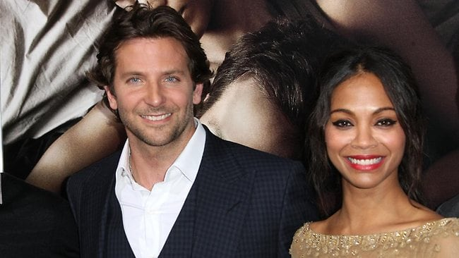 "HOLLYWOOD, CA - SEPTEMBER 04: Actor Bradley Cooper (L) and actress Zoe Saldana attend the Premiere Of CBS Films' ""The Words"" at the ArcLight Cinemas on September 4, 2012 in Hollywood, California. (Photo by Frederick M. Brown/Getty Images)"
