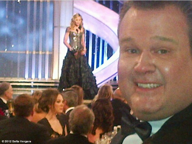 Sofia Vergara posted this Twitpic of Eric Stonestreet and Madonna. Picture: Twitter