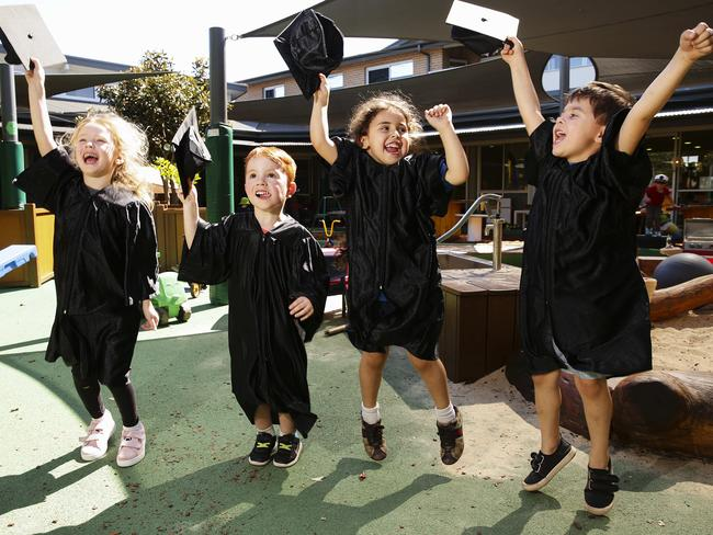 More childcare centres and preschools are hosting 'university-style' graduations for their young pupils. Picture: Justin Lloyd