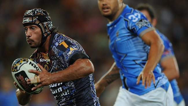 Johnathan Thurston runs the ball for the Indigenous All Stars. Picture: Matt Roberts