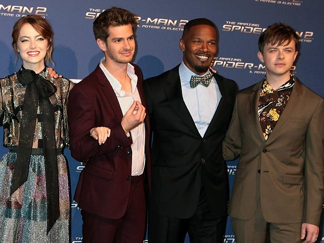 Emma Stone, actors Andrew Garfield, Jamie Foxx and Dane DeHaan attend 'The Amazing Spider-Man 2: Rise Of Electro' Rome Premiere.