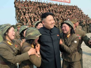 North Korean leader Kim Jong-Un with female soldiers. Photo: AFP / KCNA VIA KNS