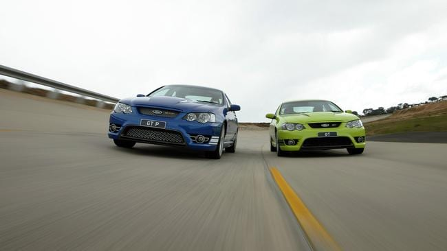 Blue oval ... 2005 Ford Falcon GT sedans being tested on Ford high-speed oval. Picture: Supplied.