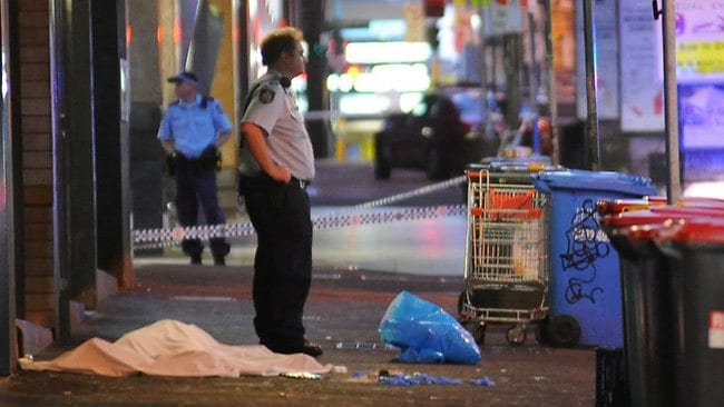 A man has died following the use of a Taser by police this morning in Pitt St Sydney. Picture: Steve Harris