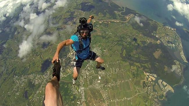 Friends of Mr Cornick, pictured here during a skydive, said the ordeal was 'pretty scary'.