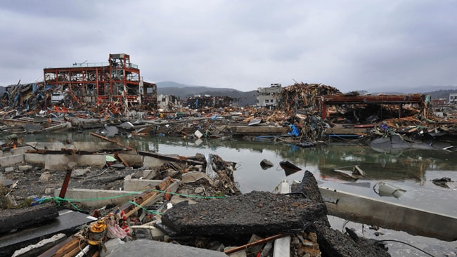 An area of the Minami Sanriku foreshore left devastated by the tsunami. AFP