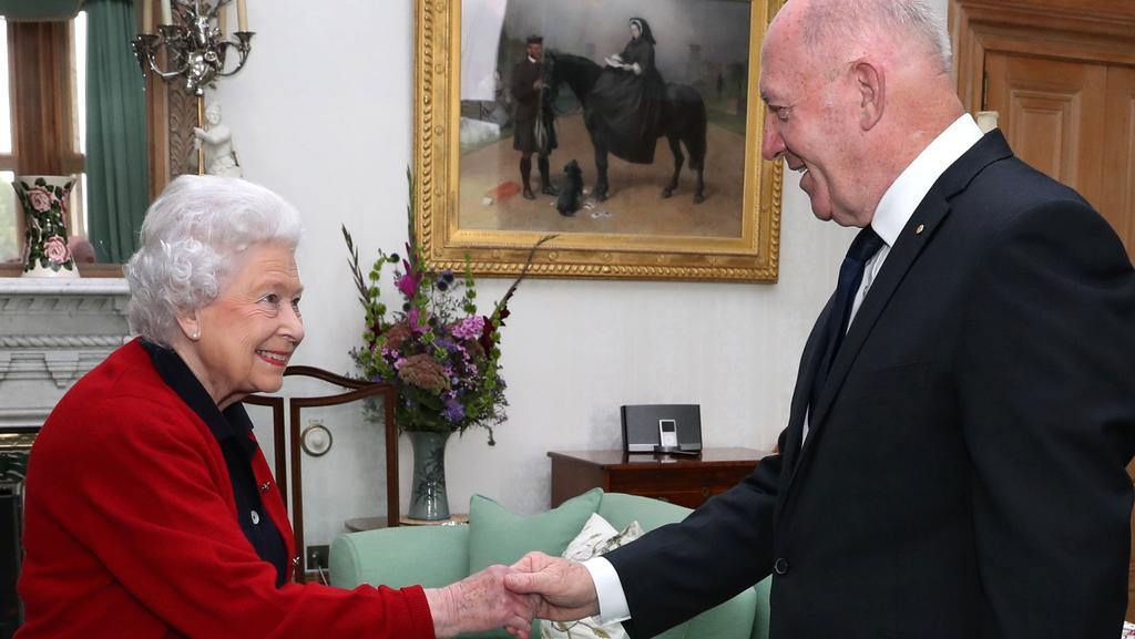 Britain's Queen Elizabeth II speaks with Governor-General Sir Peter Cosgrove. Picture: AFP