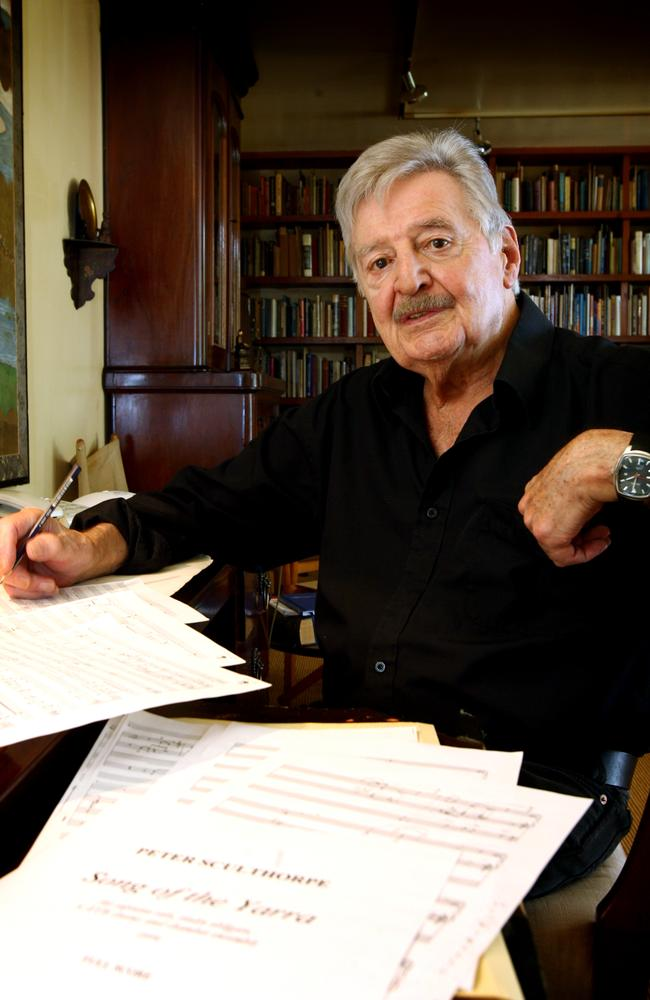 died after a long illness ... Classical composer Peter Sculthorpe with his piece titled 'Song of the Yarra' for the Melbourne Symphony Orchestra. Picture: Katrina Tepper