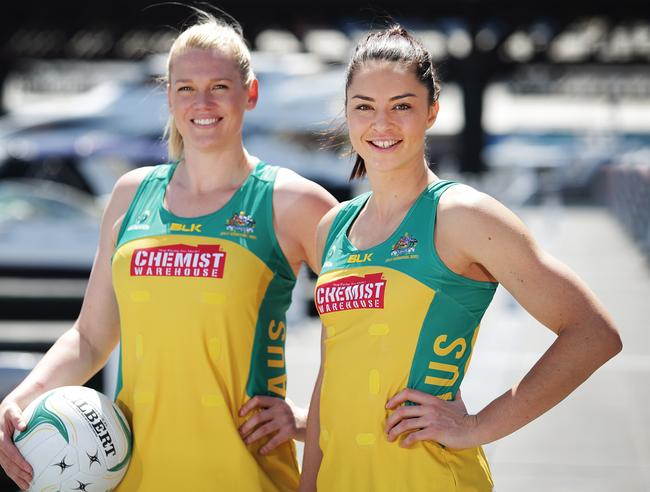 Sharni Layton (right) played for the Australian Diamonds in this year's Quad Series.