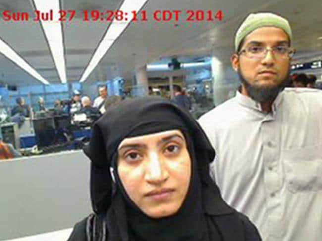 San Bernardino shooters ... Tashfeen Malik, left, and Syed Farook as they passed through O'Hare International Airport in Chicago on July 27, 2014. Picture: US Customs and Border Protection via AP