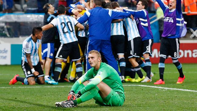 Jasper Cillessen of the Netherlands couldn't stop Argentina from the spot.