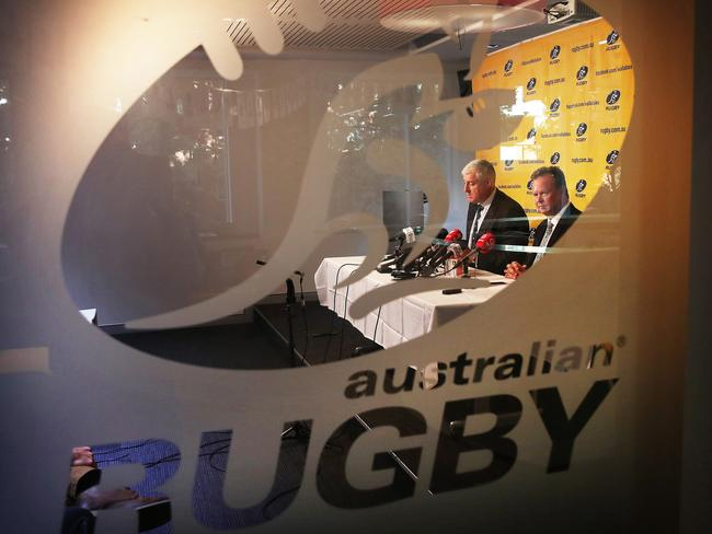 ARU chairman Cameron Clyne and ARU CEO Bill Pulver holding court.