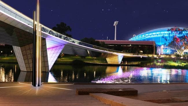 """A concept drawing for the """"Reeds of Reflection"""" lighting display on the Riverbank. Picture: Renewal SA"""