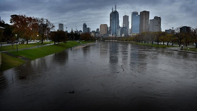 The banks of the Yarra are almost overflowing after a deluge hit Melbourne last night. Picture: Tony Gough
